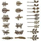 22 Stücke Vintage Haarspangen Hair Clip Bronze Blatt Bobby Pin Blume Schmetterling Herz Haarspange für Mädchen und Damen, Mix Stile