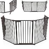 KIDUKU Kaminschutzgitter Metall Laufgitter Laufstall Absperrgitter Türschutzgitter für Kinder-Sicherung, 310 cm Länge, schwarz
