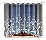HAFT Gardine; Store; Vorhang transparent, elegant weiß, Kräuselband (160 x 300 cm)