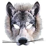 Für Erwachsene & Kinder Realistische Kunstpelz Wolf Gesicht Maske Pack Animal Jungle Werwolf Buch Woche Kostüm Gesichtsmaske