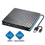 Externes CD/DVD Laufwerk Brenner USB 3.0 und Typ-C-Schnittstelle, Tragabar Externe DVD-RW DVD/CD, kompatibel mit Win10 /8/7/XP, Laptop, Mac/Macbook Air/Pro/iMac/PC
