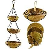 Simandra Rattan Hängekorb, Bambus Hängeregal, Boho Unikat, Hänge-Etagere Regal Dekorative Korbhänger