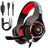 Gaming Headset für PS4 PC Xbox One, Beexcellent LED Light Gaming Kopfhörer mit Mikrofon Bass Surround für Laptop Mac Nintendo Switch (ROT)
