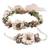 Frauen Mädchen Blumenkranz Blumenstirnband Blumenkrone Haarkranz Garland Halo mit Floral-Handgelenk-Band für Braut Fotografie Hochzeit Festival Kaffee