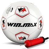 WIN.MAX Fußball, Traditionell Spielball Trainingsball, Sondermodell, Größe 4, Geeignet für Futsal-Felder innen und außen (Mit Luftpumpe)