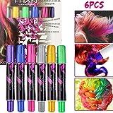 Buluri Haarkreide Non-Toxic 6 Farbe Natürliche Haare Kreide Stifte Temporäre Haarfarbe für Mädchen, Perfektes Geschenk für Karneval, Weihnachten & Geburtstag (6 Pack)