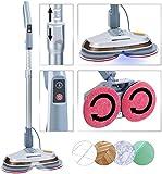 Sichler Haushaltsgeräte Bodenpoliermaschine: Fußboden-Poliermaschine mit Teleskop-Griff, Sprüh-Funktion & LEDs (Hartbodenreiniger)