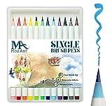 MozArt Supplies Pinselstift-Set – 12 Farben – weiche flexible Echtpinsel-Spitze, langlebig, Wasserfarben-Effekt, Aquarell – Ideal für Malbücher, Comic, Kalligrafie