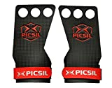 PICSIL RX Carbon Grips 3H - Hand Grips and Gymnastics Grips for Cross Training, muscleups, pullups, Weight Lifting, Chin ups, Training, Exercise, Kettlebell. Size M. Red Color.