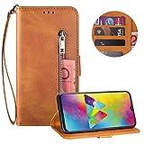 Reißverschluss Brieftasche für Samsung Galaxy M10,Gurt Wallet Handyhülle für Samsung Galaxy M10,Moiky Klassisch Braun Solide Farbe Klappbar Stand Leder Handytasche