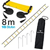 #DoYourFitness Koordinationsleiter/Fitnessleiter - Länge 4m 6m 8m - Trainingsleiter (ENGL Agility Ladder) BZW. Konditionsleiter für Beweglichkeitsübungen/Schnelligkeitstraining 8m gelb/schwarz