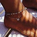 simsly Strand Herz Fußkettchen Knöchel Armband Doppel Strass Fuß Schmuck für Frauen und Mädchen (Silber / 1 Stück)