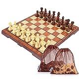 Peradix 35*30cm Schachspiel mit Aufbewahrungsbeutel Magnetischem Einklappbar Schach für Kinder ab 6 Jahre Deluxe, aus WPC (35*30cm Braun)