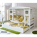 Pharao24 Kinderbett mit Ausziehbett Dschungel Design