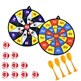 Queta Kids Safe Fabric Dart Board Game Set mit 10 Sticky Balls 4 Safety Darts Selbstklebende Zielscheibe Sport Indoor Outdoor Wurfspiel für Kinder Sicherheit Spielzeug Set 2 Stück