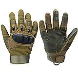 Xnuoyo Gloves Gummi Hart Knuckle Vollfinger und Halbe Fingerhandschuhe Schutzhandschuhe Touchscreen Handschuhe für Motorrad Radfahren Jagd Klettern Camping (L, Armeegrün)