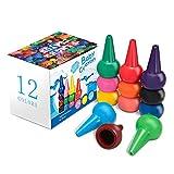 Keten Kleinkinder Wachsmalstifte Handflächengriff Wachsmalstifte, 12 Farben Farbstifte für Kleinkinder, Waschbare, Sichere und Ungiftige Buntstifte Stapelbare Spielzeuge für Kinder, Babys