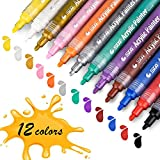 Acrylstifte Marker Stifte, STA permanent marker 12 Farben mittlere Strichstärke, ungiftig, zum Bemalen von Papiere, Steinen, Holz, Keramik, Glas, und Ostereiern