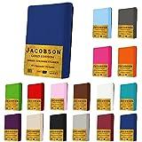Jacobson Gold Edition Jersey Spannbettlaken Spannbetttuch Baumwolle mit ELASTAN ca. 200 g/m² (140x200 cm - 160x200 cm, Anthrazit)