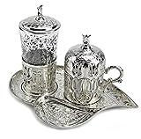 Türkisches Kaffeeservice Kahve Seti Mokkaservice Mokkatassen Silber Service Set 3tlg.