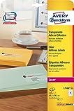 Avery Zweckform L7560-25 Adress-Etiketten (A4, 525 Etiketten, 63,5 x 38,1 mm) 25 Blatt transparent