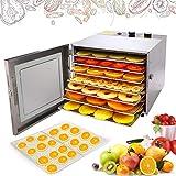 Meykey Dörrautomat Edelstahl Dörrgerät mit Temperaturregler, 6 verstellbaren Einschübe, Früchte Trockner mit Timer 600W