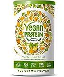 Vegan Protein (Haselnuss) - Protein aus Reis, Hanfsamen, Lupinen, Erbsen, Chia-Samen, Leinsamen, Amaranth, Sonnenblumen- und Kürbiskernen - 600 Gramm Pulver mit natürlichem Haselnuss Geschmack