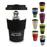Morgenheld  Dein trendiger Bambusbecher | umweltfreundlicher Coffee-to-Go-Becher | nachhaltiger Kaffeebecher mit Silikondeckel und Banderole in coolem Design 400 ml Füllmenge (Monkey)