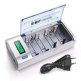 EBL Universal LCD Akkuladegerät und Entladegerät für Baby C, Mono D, AA, AAA, 9v Block, NI-MH, NI-Cd wiederaufladbare Batterien