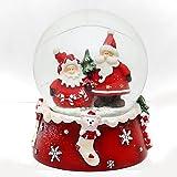 Schneekugel, Weihnachtsmann Duo, rot weiß, Maße H/B/Ø Kugel: ca. 8,5 x 7 cm/ Ø 6,5 cm.