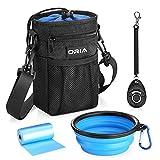ORIA Futtertasche für Hunde , 4 in 1 Futterbeutel Hundtraining mit Kotbeutel Spender, Hundetraining Clicker, Falten Schüssel, Verfügbares Tasche & Schultergurt, Premium Leckerlibeutel für Hundefreund