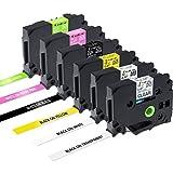 6x TZe Schriftband 12mm für Brother P-touch Schriftband TZe-MQP35 TZe-MQG35 TZe-131 TZe-231 TZe-631 TZe-335, schwarz auf transparent/ weiß/ gelb, weiß auf matt-pink/ matt-apfelgrün/ schwarz (Kompatible mit Brother P Touch PT-H100LB/R, PT-H105, PT-E100/VP, PT-D200/BW/VP, PT-D210/VP)