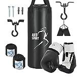 ArtSport Boxsack Set gefüllt mit Boxhandschuhen, Bandagen und Deckenhalterung | 10 kg | schwarz | Sandsack Punching Bag Boxen Kickboxen Boxsport