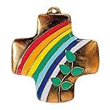 """Wandkreuz aus Bronze """"Zeichen der Liebe"""": koloriert"""