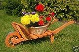 Dekorative massive Schubkarre, behandelt aus Holz, Gartendeko, bepflanzen möglich, Pflanzkorb, Blumentopf, Blumentopf, Pflanzkübel, Pflanztrog, Pflanzgefäß, Pflanzschale, Pflanzkasten, Übertopf, Blumenkasten