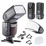 Neewer NW-670 TTL Flash Blitzgerät mit LCD Anzeige Set für Canon DSLR Kameras, beinhaltet: (1)NW-670 Blitz,(1)2,4GHz Wireless Auslöser mit C1/C3 Kabel,(1)Soft/Hard Diffuser + (1)Objektiv Kappen Halter