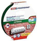 tesa Powerbond Outdoor doppelseitiges Montageband / Wasserfestes und UV-beständiges Klebeband mit starker Haftung für den Außenbereich / 5 m x 19 mm