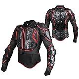 Motorrad Vollkörper Rüstungsschutz Pro Street Motocross ATV Schutzhemd Jacke mit Rückenschutz Schwarz & Rot, XL