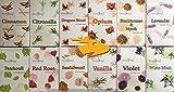 12Stück Räucherkegel Zimt, Citronella, Drachenblut, Weihrauch und Myrrhe, Lavendel, Opium, Patchouli, rot rose, Sandelholz, Vanille, Veilchen, weißer Moschus. 15Kegel pro 180Stück insgesamt.