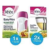 Elektrisches Warmwachs Roll-On Set für alle Hauttypen mit 1x Roll-On Gerät + 2 Nachfüllpatronen für professionelle Haarentfernung zuhause Veet EasyWax Essential Inspirations