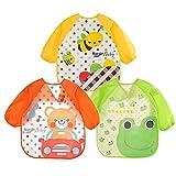 3er Wasserdicht Baby Lätzchen mit Ärmeln, Baby Malschürze Bastelschürze Taschentücher - Essen und Play Smock Schürze für Kleinkinder für 6-24 Monate Kinder