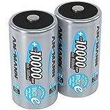 ANSMANN LSD Mono D Akkubatterie, 1,2 V / Typ 10000mAh / Hochkapazitiver NiMH Akku mit konstant hoher Leistungsabgabe & Langlebigkeit - ideal für Geräte mit hohem Stromverbrauch, 1 x 2er Pack