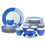 Van Well Vario hochwertiges Porzellan Geschirrset für 6 Personen für Gastro Hotel Privat I zweifarbiges Speiseservice-Tafel-Set Spülmaschinensicher I Kombi-Service 30-teilig Weiss blau