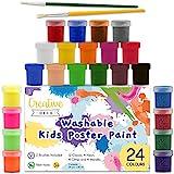 Creative Deco Kinder Fingerfarbe Bastel-Farbe Plakatfarbe Set | 20 ml x 24 Mehrfarbige Becher | Grund, Leuchtstoff, Glitzer, Metallic & Neonfarben | Perfekt für Anfänger Studenten und Künstler