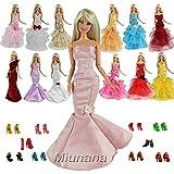 Miunana 15 Stück 5 Sets Hochzeitskleid Abendkleid Ballkleid Kleid Meerjungfrau Kleidung Kleider Partygeschenke mit 10 Paar Schuhen für Barbie Puppen