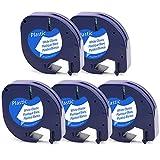 5x Etikettenband Kunststoff Selbstklebend, 91221 91201 91331 S0721660 Schriftbandkassette, Kompatibel Kunststoffband für Dymo LetraTag LT-100H LT-100T QX50 2000 XR XM Plus Schwarz auf Weiß 12mm x 4m