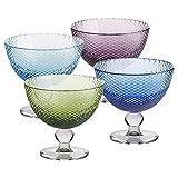 4 X Eisschale Dessertschale Eisbecher Glas Bubbles 4 Farbig 11 cm Gelato Vero