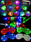 Joyin Toy 60 LED Spielwaren Party Zubehör Mitgebsel für Kinder Give Aways Kindergeburtstag Gastgeschenke - 44 LED Fingerlicht Fingerring Leuchtringe, 12 LED Blinkend Ringe und 4 LED Geschlitzt Schatten Brille