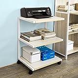 SoBuy Drucker-Rolltisch mit 3 Ablagefächern,Druckerständer, Beistelltisch, Küchenwagen, Rollwagen, Beistellwagen, FRG81-W