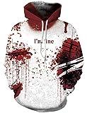 Loveternal Halloween Hoodie Unisex 3D Druck Hooded I'm Fine Kapuzenpullover Langarm Casual Sweatshirt für Frauen Männer S/M